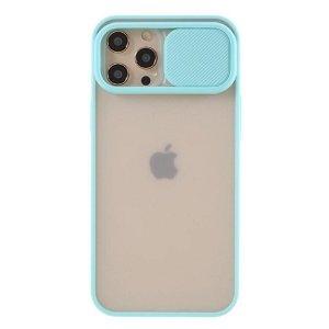 iPhone 12 Pro Max Frosted Plastik Deksel med Camslider - Cyan