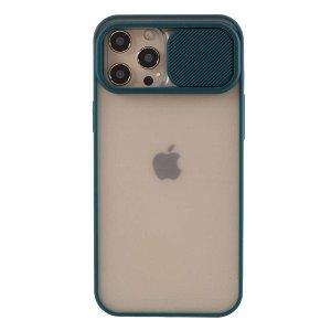 iPhone 12 Pro Max Frosted Plastik Deksel med Camslider - Grønn