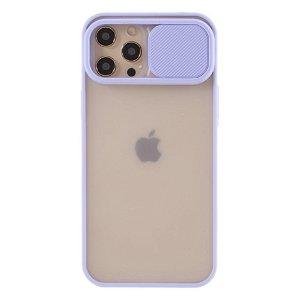 iPhone 12 Pro Max Frosted Plastik Deksel med Camslider - Lilla