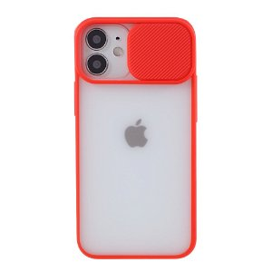 iPhone 12 Mini Frostet Plastdeksel med Camslider - Rød