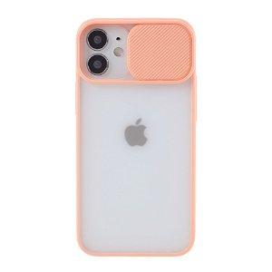 iPhone 12 Mini Frostet Plastdeksel med Camslider - Rosa