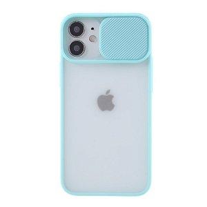 iPhone 12 Mini Frostet Plastdeksel med Camslider - Cyan