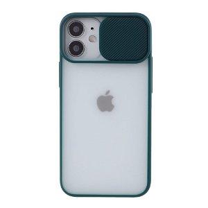 iPhone 12 Mini Frostet Plastdeksel med Camslider - Grønn