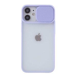iPhone 12 Mini Frostet Plastdeksel med Camslider - Lilla