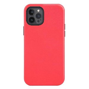 iPhone 12 Pro Max deksel PU Skinn - Kompatibel med MagSafe - rød