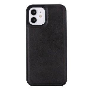 iPhone 12/12 Pro Lærbelagt plastdeksel - MagSafe-kompatibel - Svart