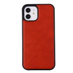iPhone 12 Pro Max Lærbelagt plastdeksel - MagSafe-kompatibel - Rød