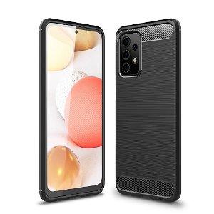 Samsung Galaxy A52s (5G) / A52 (4G / 5G) Børstet karbonfiber Fleksibel plastdeksel - Svart