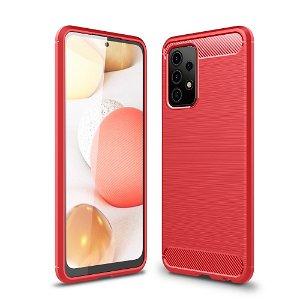 Samsung Galaxy A52s (5G) / A52 (4G / 5G) Brushed Carbon Fiber Fleksibelt Plastdeksel - Rød