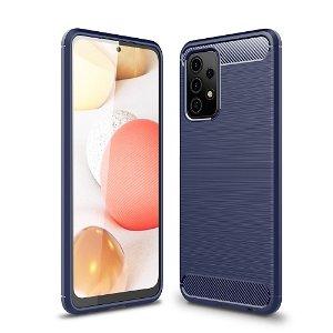 Samsung Galaxy A52s (5G) / A52 (4G / 5G) Børstet karbonfiber Fleksibel plastdeksel - Blå