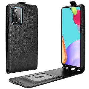 Samsung Galaxy A52s (5G) / A52 (4G / 5G) Vertikal Flip Skinndeksel med kortholder - Svart