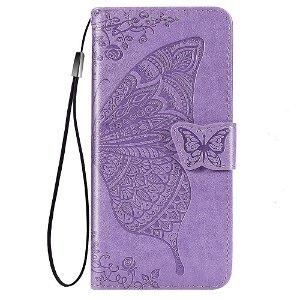 Samsung Galaxy A52s (5G) / A52 (4G / 5G) Skinn Deksel med Lommebok - Sommerfugler - Lavendel