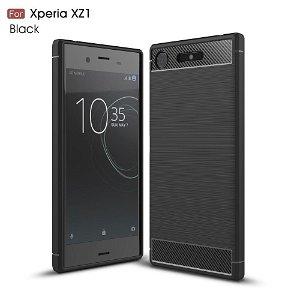 Sony Xperia XZ1 Brushed Carbon Fiber TPU Plast Deksel Svart