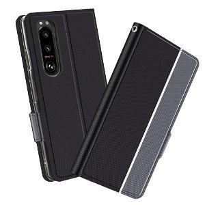 Sony Xperia 5 III Tynn Kunstskinn Deksel med Lommebok - Svart/Grå