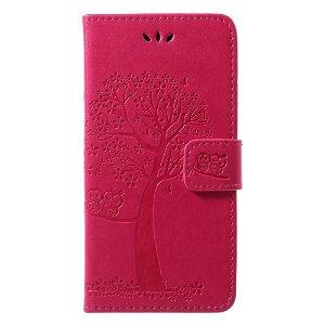 Huawei P20 Lite Skinn Deksel m. Lommebok Ugle og Tre Avtrykk - Pink