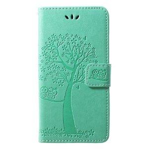 Huawei P20 Lite Skinn Deksel m. Lommebok Ugle og Tre Avtrykk - Grøn