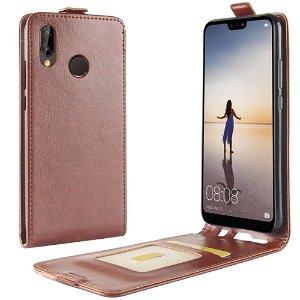 Huawei P20 Lite PU Skinn Flip Deksel m. Stativ og Kortholder - Brun