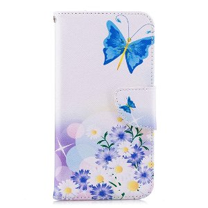 Huawei P20 Lite PU Skinn Flip Deksel m. Lommebok - Blå Sommerfugl
