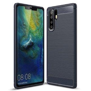Huawei P30 Pro Plastdeksel m. Karbonutseende - Mørk Blå