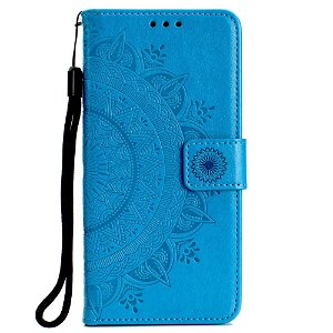 Huawei P30 Lite Skinn Flip Deksel med Lommebok - Mandala Mønster Blå