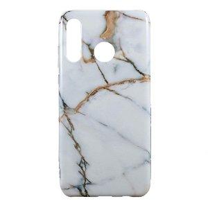 Huawei P30 Lite TPU Plastdeksel m. Hvid / Guld Marmor Look