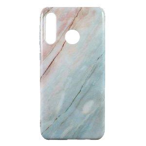 Huawei P30 Lite TPU Plastdeksel m. Blå Marmor Look