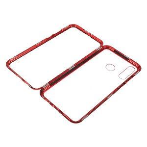 Huawei P30 Lite Magnetisk Metalldeksel m. Glass Foran og Bak - Rød