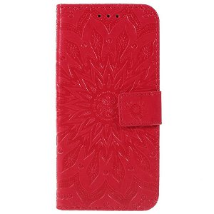 Huawei P Smart (2019) / Huawei Honor 10 Lite Skinn Flip Deksel m. Lommebok - Mandala Mønster Rød