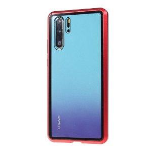 Huawei P30 Pro Magnetisk Metallramme m. Glass For- og Bakdeksel - Rød