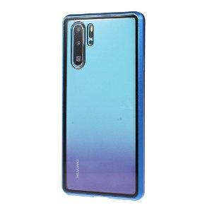 Huawei P30 Pro Magnetisk Metallramme m. Glass For- og Bakdeksel - Blå