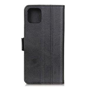 Huawei P40 Business Look Skinn Flip Deksel m. Lommebok - Svart