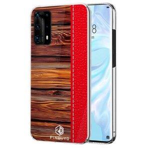Huawei P40 Pro Pinwuyo Wood Grain Style Deksel - Rød