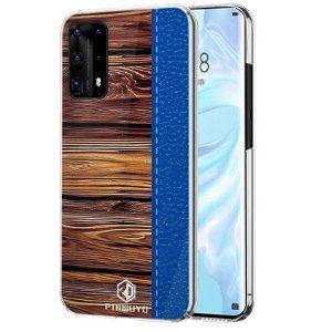 Huawei P40 Pro Pinwuyo Wood Grain Style Deksel - Blå