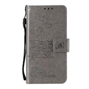 Huawei P40 Pro Skinn Flip Deksel m. Lommebok - Ugler - Grå