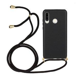 Huawei P30 Lite Fleksibelt Plastdeksel med Snor / Stropp - Svart