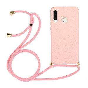 Huawei P30 Lite Fleksibelt Plastdeksel med Snor / Stropp - Rosa