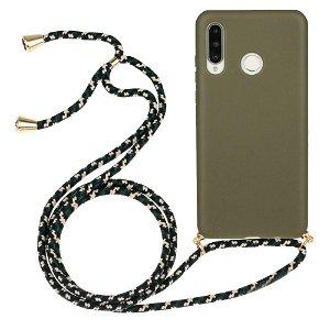 Huawei P30 Lite Fleksibelt Plastdeksel med Snor / Stropp - Grønn