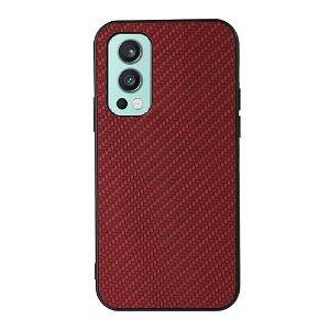 OnePlus Nord 2 (5G) Plast & Kunstskinn Deksel - Rød Karbon