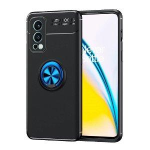 OnePlus Nord 2 (5G) Fleksibelt Plast Bakdeksel med. Magnetisk Ringholder - Svart / Blå