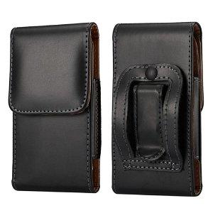 Universal Soft Pouch Skinn Flip Deksel til Mobil Svart - (Maks. Mobil: 165 x 83 x 18 mm)
