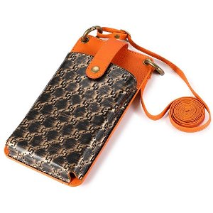 Universell Skinn Etui m. Lommebok & Stropp (Maks Mobil: 170 x 90 x 17 mm) - Oransje