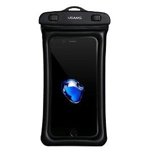 USAMS Universal Waterproof Deksel m. Airbag og Nakkestropp (Maks. Mobil: 160 x 78 x 10 mm) - Svart