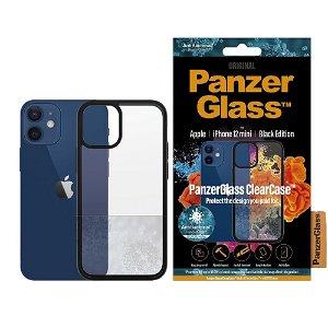 iPhone 12 Mini Deksel PanzerGlass ClearCase Antibakteriell - Svart Kant