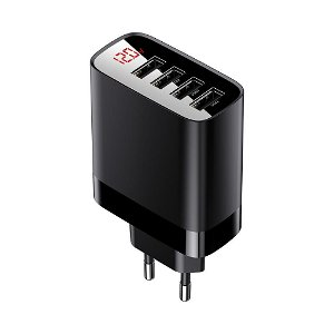Baseus Mirror Lake Digital Display 30W - 4 x USB Vegglader - Svart