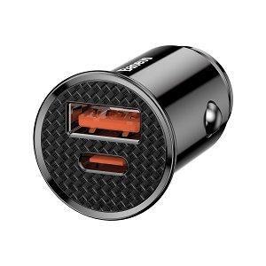 Baseus Circular 30W BilLader USB-A & USB-C - Svart