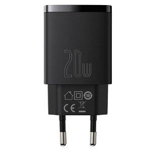 Baseus Compact 20W Vegglader USB -C / USB-A QC Hurtiglading - Svart