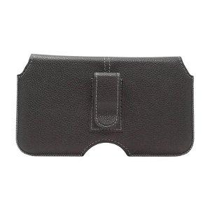 Gear Belt Horizontal Bag Skinn - Belteveske Svart (Maks. Mobil: 151 x 77 x 9 mm)