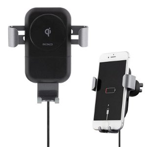 Deltaco Fast Wireless Car Charger m. Bilholder - Svart