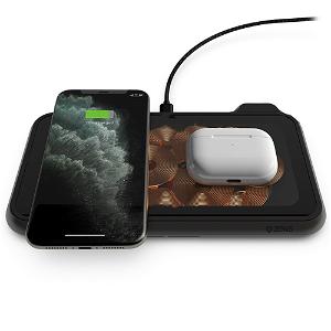 ZENS Liberty Dual Trådløs 30W Fast Charge Lader til Smartphones & AirPods  - Gjennomsiktig