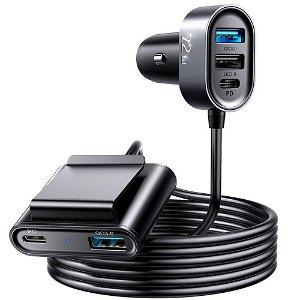 JoyRoom 5 Multi-Port USB Car Charger 72W m. 3 x USB-A & 2 x USB-C - Svart
